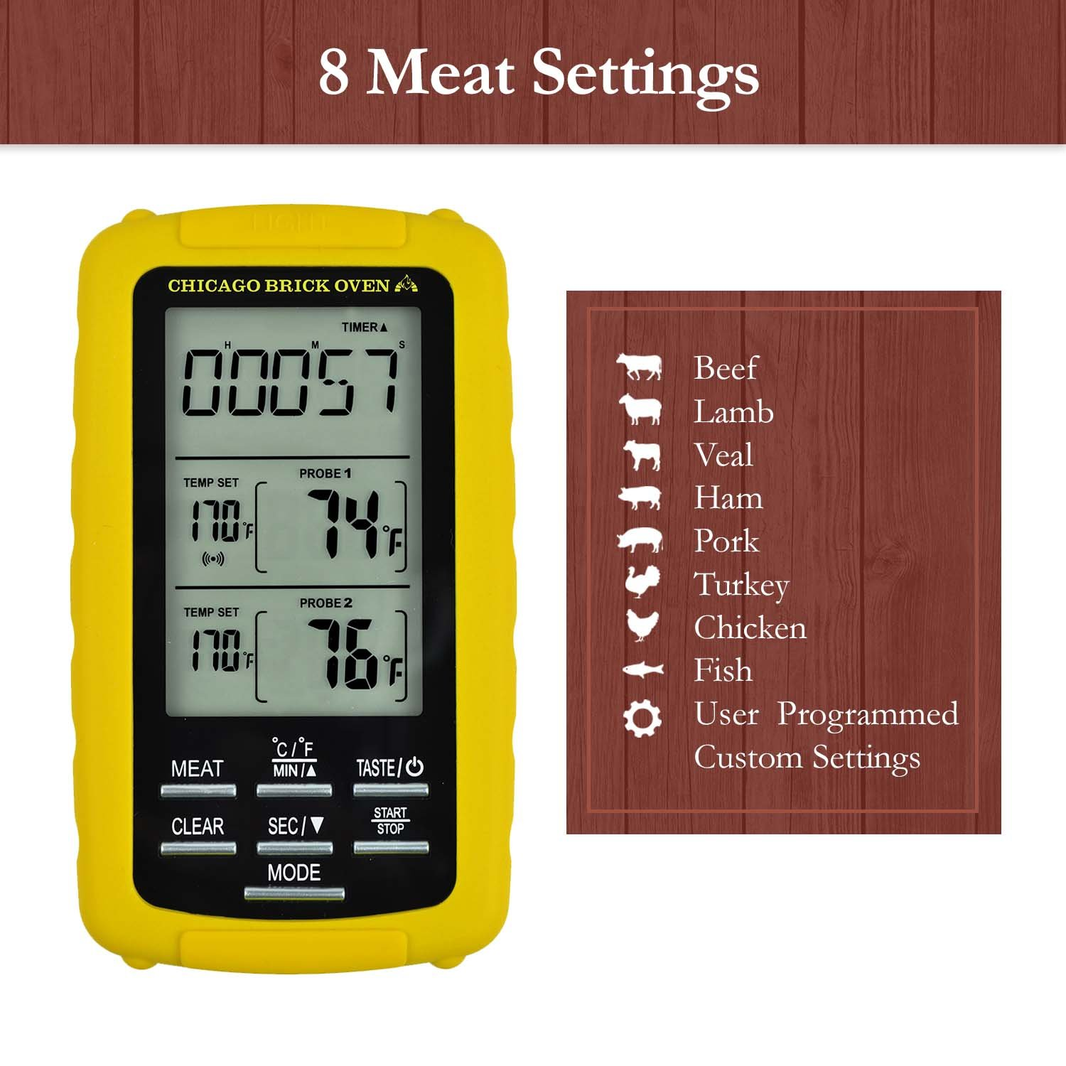 Instant Read Wireless Digital Cooking Food Meat Thermometer with Dual Probes for Indoor Kitchen, Outdoor BBQ Grill Oven Electronic Thermometer by Chicago Brick Oven (Image #4)