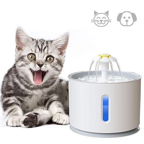 ADOV Fuente para Gatos, 2.4L Dispensador Automático de Agua Eléctrico con Filtro de Repuesto