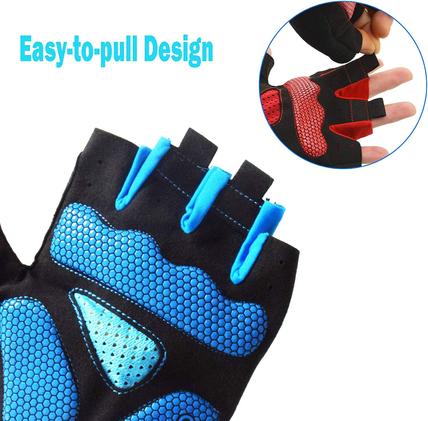 WITERY Cycling Gloves for Men and Women Mountain Bike Gloves SBR Shock-Absorbing Gel Pad Anti Slip Breathable Half Finger Road Bicycle Gloves