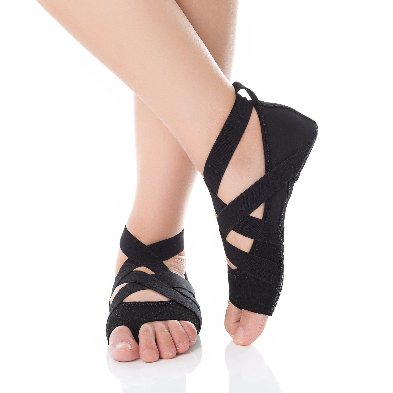 Barerun Ballet Yoga Shoes Soft Comfy Barefoot Dance Shoe(Little Kid/Girls/Women) Black 6.5-7.5 B(M) Women