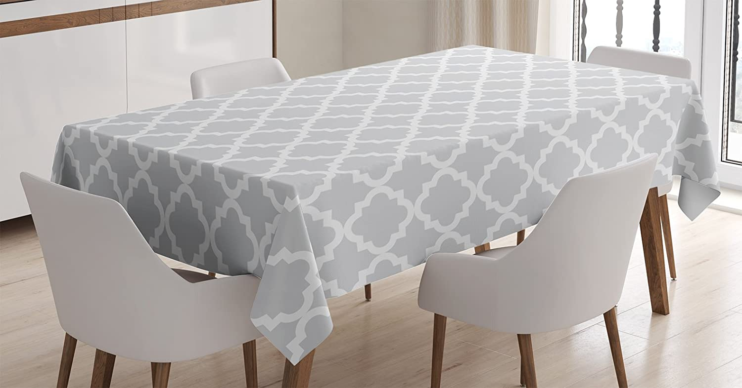 Ambesonne Quatrefoil Tablecloth, Antique Pattern Geometrical Curves Ogee Minimalistic Design Illustration, Dining Room Kitchen Rectangular Table Cover, 60