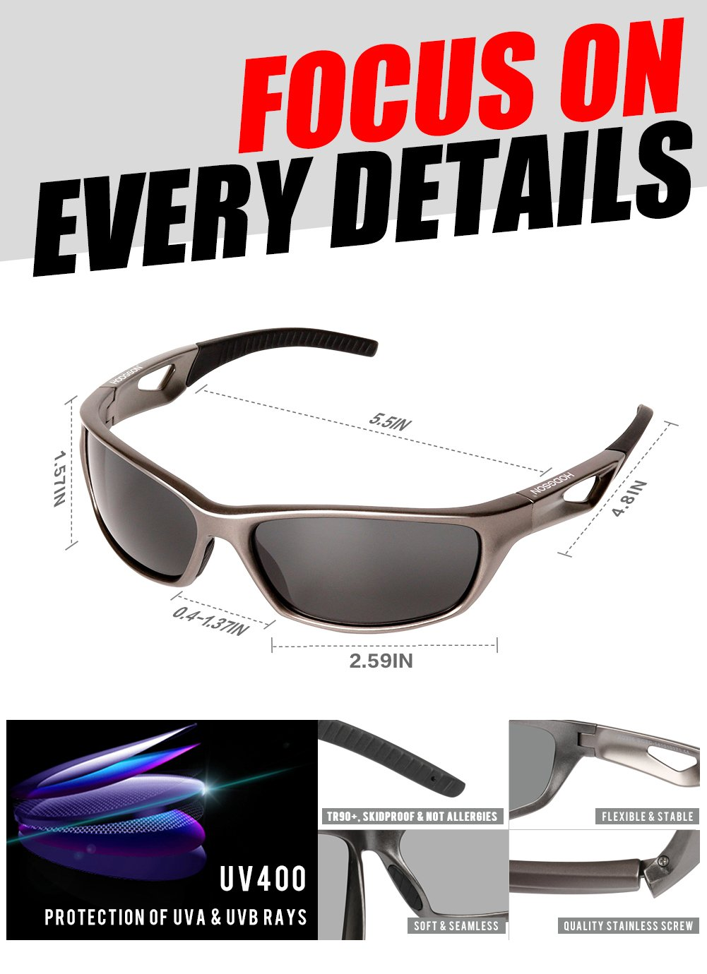 HODGSON Sports Polarized Sunglasses for Men Women, UV400 Protection Unbreakable Sports Glasses for Cycling, Baseball Riding, Driving, Running, Golf and Other Outdoor Activities (Dark Brown) by HODGSON (Image #3)