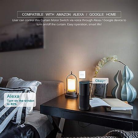 Smart WIFI Interruptor t/áctil inal/ámbrico Frontoppy Tipo cortina Interruptor de pared WIFI Control a trav/és de APP o Control de voz Compatible con Alexa//Google Home AC110 to 240V
