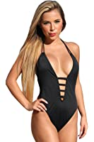 Ujena Black Straps One Piece 1-pc Sexy Black High Cut Swimsuit Swimwear