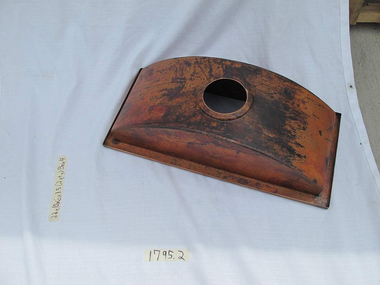 Copper bar prep sink trough 22x10x6 apron 1//2 3.5 drain opening flat lip 1