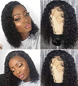 Amazon Com Bly Short Curly Bob Wigs Brazilian Virgin Human Hair Lace Front Wigs Kinky Curly Hair 13x4 Lace Part 150 Density Pre Plucked With Baby Hair 14 Inch Kinky Curly Bob Beauty