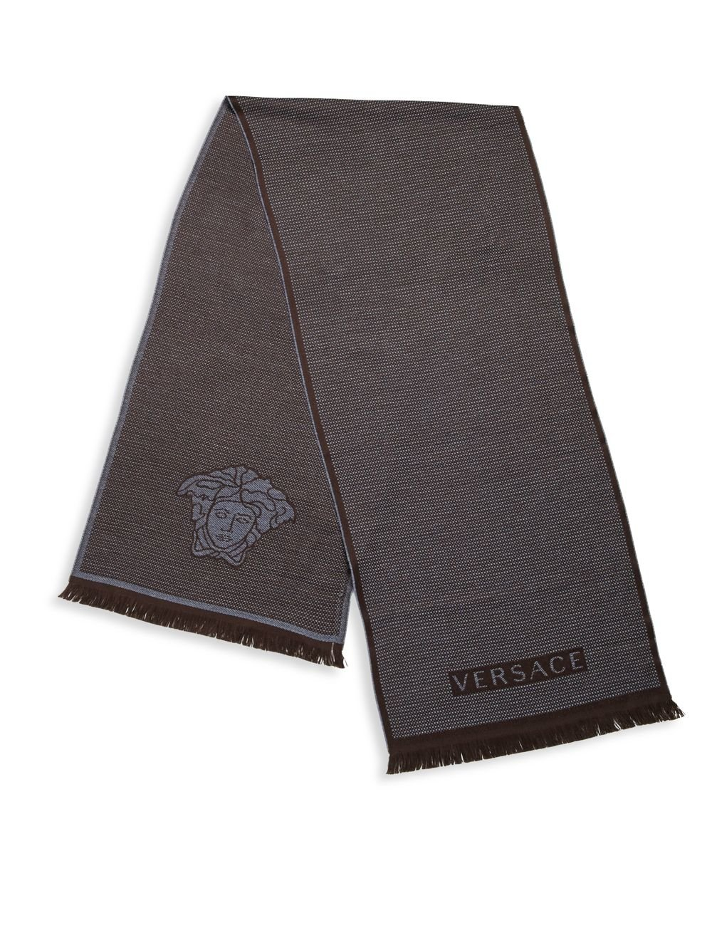 Versace Men's Box Print Wool Scarf, OS, Brown / Navy by V1969 by VERSACE