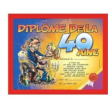 Cadeau Anniversaire Humoristique Cadre Diplôme Des 40 Ans Amazon