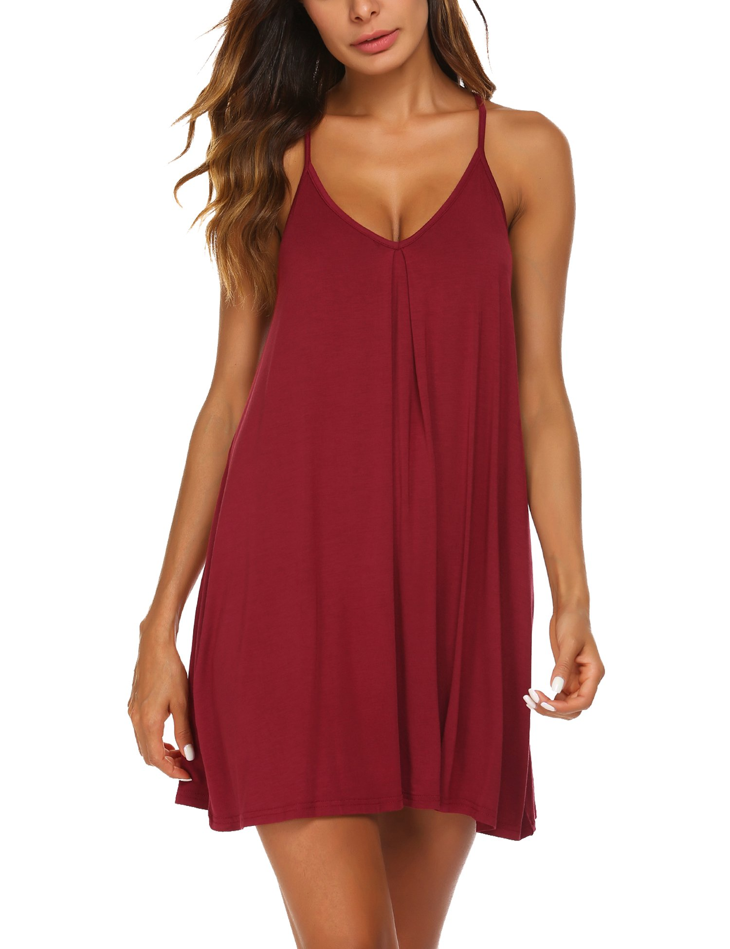 Ekouaer Womens V Neck Sleeveless Nightgown Sleepwear Summer Slip Night Dress S-XXL