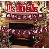 AISENO Merry Christmas Banners Jute Plaid Bunting Burlap Banner Christmas Decorations