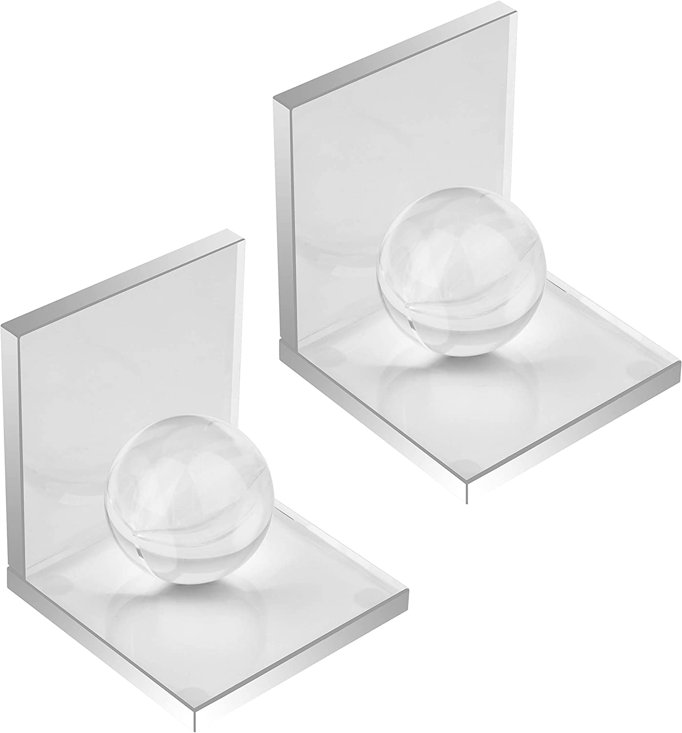 MerryNine Innovative Crystal Clear Bookends with Crystal Ball, 1 Pair L Shape Non Skid Sturdy Crystal Bookends for Heavy Books, Bookshelf, Office, School Library, Decorative Ornaments, A