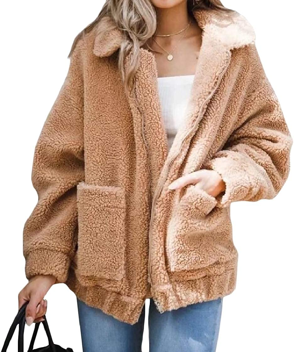 CrazyDayWomen Merino Turn Down Collar Plus Velvet Solid Loose Fit Biker Jacket