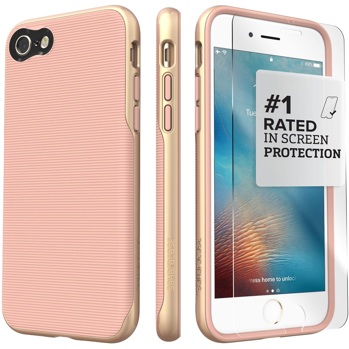 Saharacase iphone 6 6s crystal clear case rose gold edge saharacase - Amazon Com Iphone 8 Case And 7 Case Saharacase Trend Series Protection Kit Bundle With Zerodamage Tempered Glass Screen Protector Fashion Design