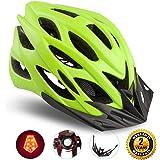 Shinmax Specializzata del Casco Bici con Luce di Sicurezza, Sport Regolabile in Bicicletta Casco della Bici Caschi da Bicicletta per Strada e Mountain Bike, Motociclo a Uomini & Donne di Età, la Gioventù - Racing, Protezione e Sicurezza (Verde)