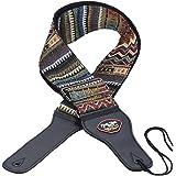 ammoon Tracolla Chitarra Pelle Cotone PU regolabile termina con Pick Pocket Tie per Acoustic Folk classica chitarra elettrica Bass