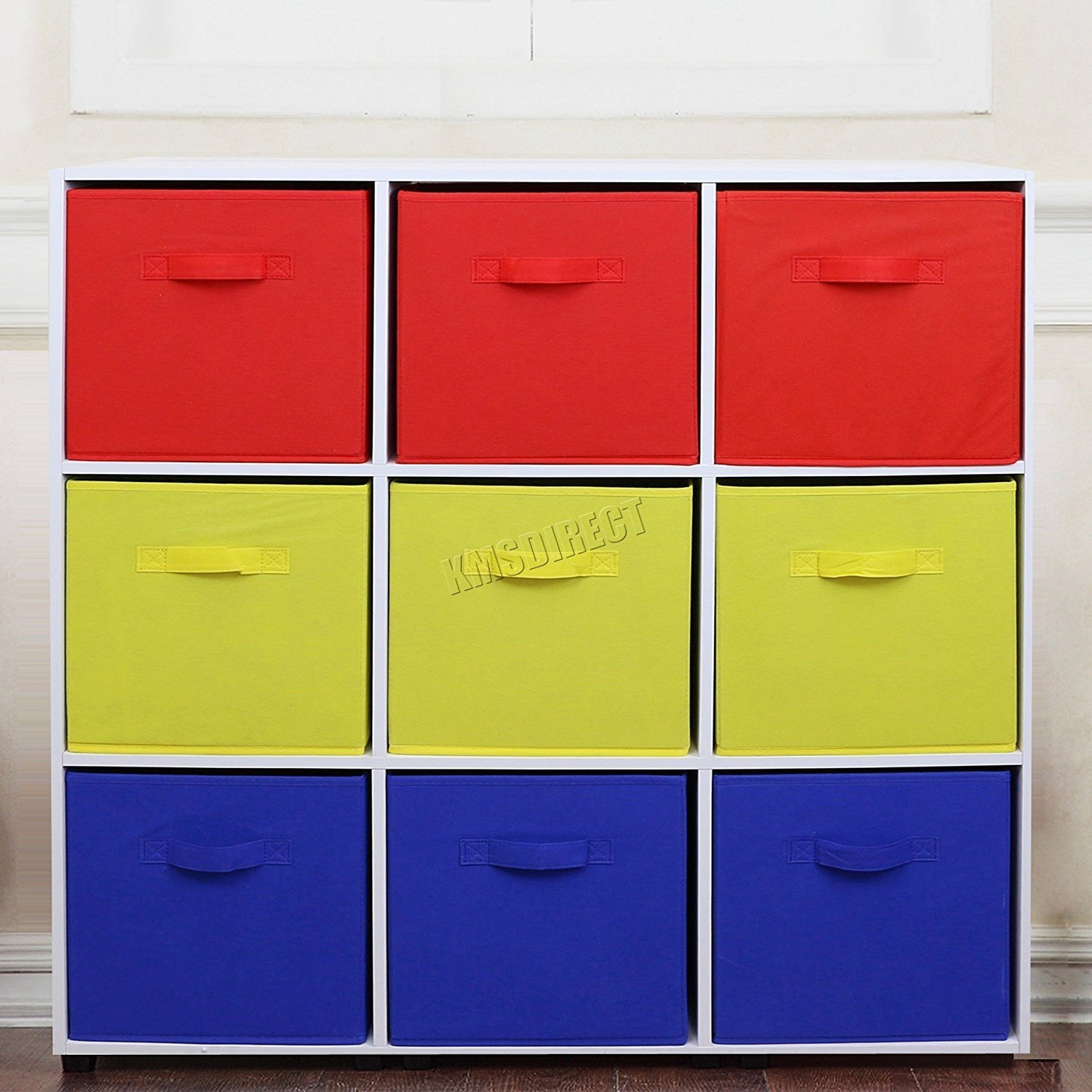 FoxHunter 9 Cube Toy Games Storage Display Shelves Bookshelf With 9 Free Woven Drawers 3 Tier Unit Organiser Rack Kids Children Bedroom TSS03 PB Blue Red Yellow KMS