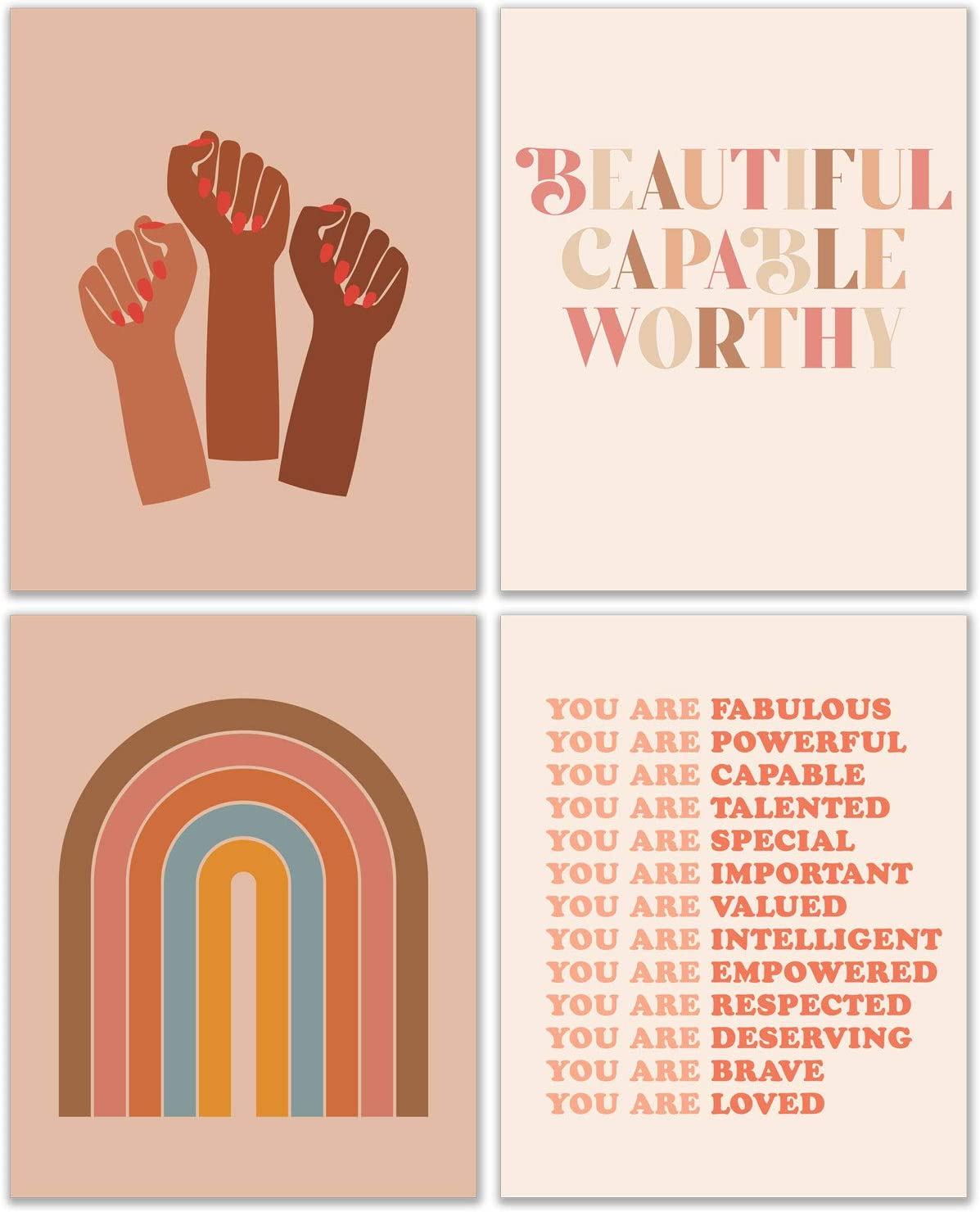 Retro Feminism Wall Art Decor - Positive Affirmations - Women Empowerment Artwork - Female Inspirational & Motivational Poster Prints - Girls Room - Power Fist - Set of 4 (8x10 Inch)