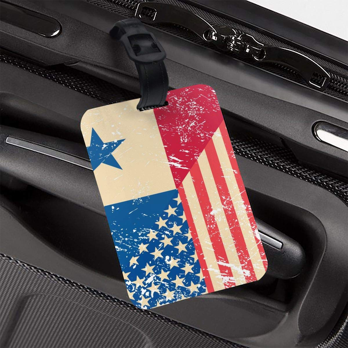 NB UUD American and Panama Retro Flag Travel Luggage Tag Printed Employees Card Luggage Tag Holders Travel ID Identification Labels for Baggage Suitcases Bags