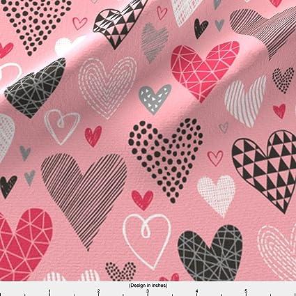 Amazon Com Valentine S Fabric Hearts Geometrical Love Valentine