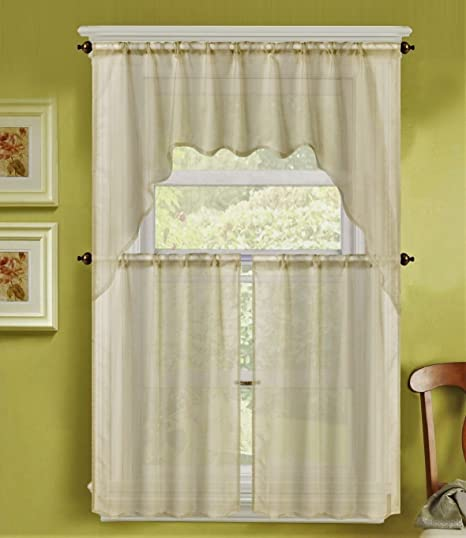 Amazon.com : Ivory Off White 3Pc Solid Voile Sheer Kitchen ...