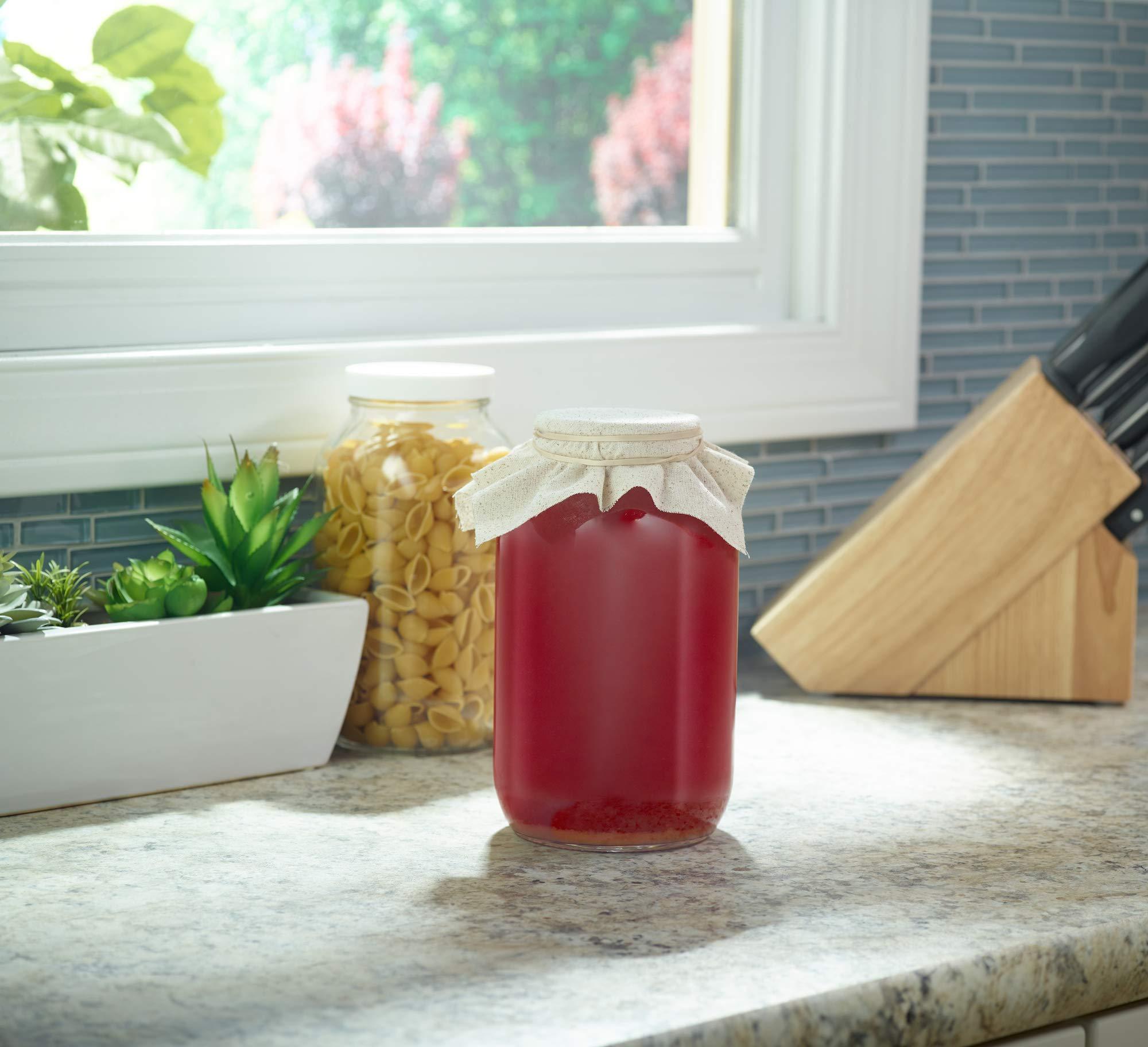 1790 Half Gallon Glass Jars (64oz) 2-Pack - Includes 2 Airtight Lids, Muslin Cloths, Rubber Bands - BPA Free, Dishwasher & Freezer Safe - Perfect for Kombucha, Kefir, Canning, Sun Tea, Fermentation by 1790 (Image #5)