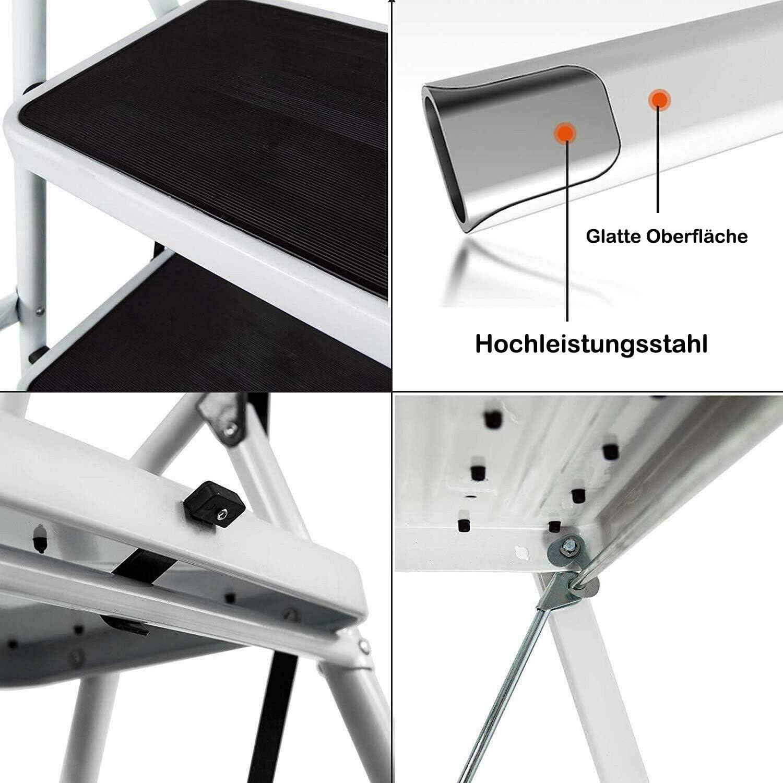 gerippten Stufen Mini Leichter Tritthocker f/ür die Home Office-K/üchengarage f/ür bis zu 150 kg Klappbarer Tritthocker Hochleistungsstahl Tragbare 2-Stufen-Leiter mit rutschfesten