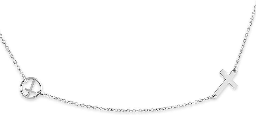Belcho USA 925 Sterling Silver Double Sideways Cross Necklace