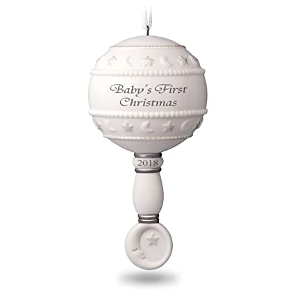 Hallmark Keepsake Christmas Ornament 2018 Year Dated Baby's First Rattle  Year Dated Porcelain - Amazon.com: Hallmark Keepsake Christmas Ornament 2018 Year Dated