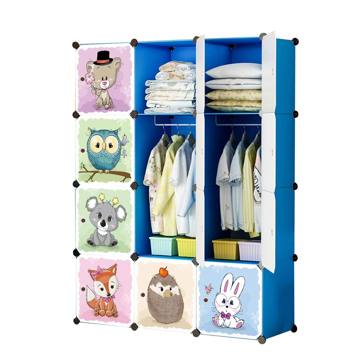 KOUSI Kids Dresser Kids Closet Portable Closet Wardrobe Children Bedroom Armoire Clothes Hanging Storage Rack Cube Organizer,Cute Cartoon,Safety & Large & Sturdy, Blue, 6 Cubes & 1 Hanging Clothes