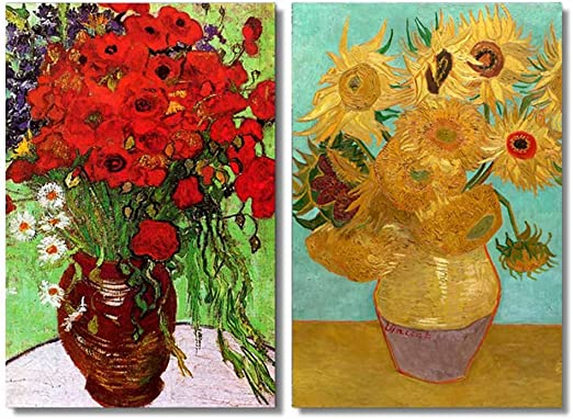 Wieco Art Irises in Vase Floral Canvas Prints Wall Art Van Gogh Classic Artwork Famous Oil Paintings Reproduction on Canvas Bedroom Home Decor 2 Piece Modern Wrapped Giclee Flowers Pictures