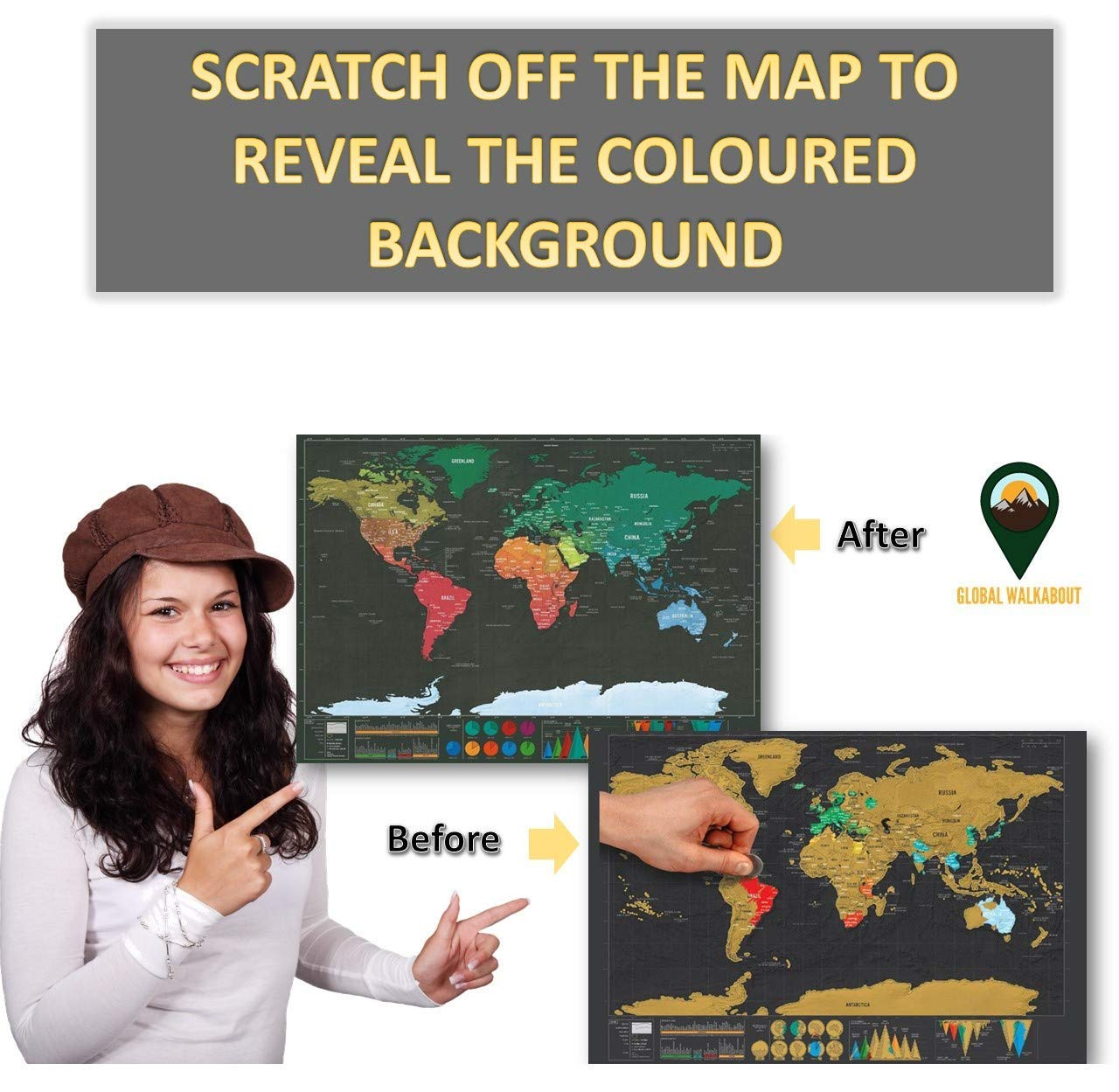 Countries and Facts Travel Gift Deluxe Travel Size World Map Poster Global Walkabout Scratch Off Map