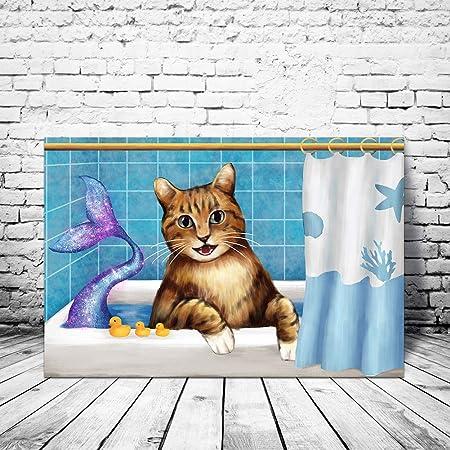 Amazon Com Homeoart Animals Funny Cat Bathing Bathroom Wall Art Mermaid Tails Art Print Framed Canvas Artwork 16 X24 Posters Prints