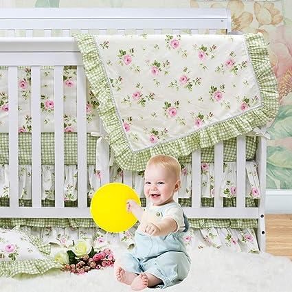 22807d97b2563 Brandream Floral Crib Bedding Sets with Ruffle Quilt & Triple Crib Skirt &  Heart Aqua Fitted Crib Sheet, Shabby Vintage Baby Girl Nursery Bedding, ...