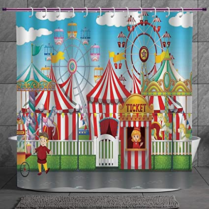Funky Shower Curtain 20 Circus DecorCarnival With Many Rides And Shops Illustration Landscape Cloudy Sky Fabric Amazonin Home