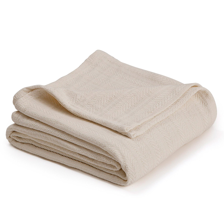 "Homvare Full/Queen Super Soft 100% Cotton Herringbone Weave Blanket/Throw Ivory 90'' x 90"""