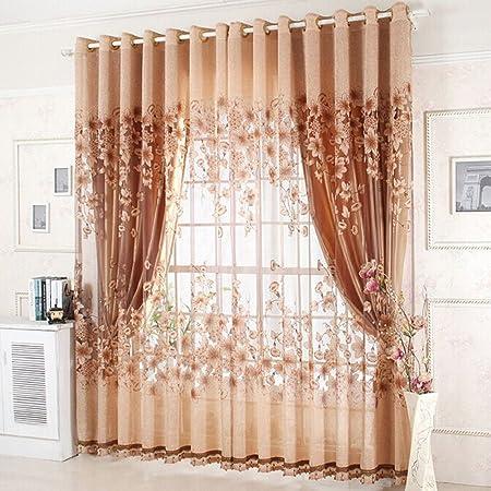 aihometm gama alta ventana Screening cortina Drape Floral gasa tul para bahía ventana baño ducha habitación separador (100 cm x 250 cm/39