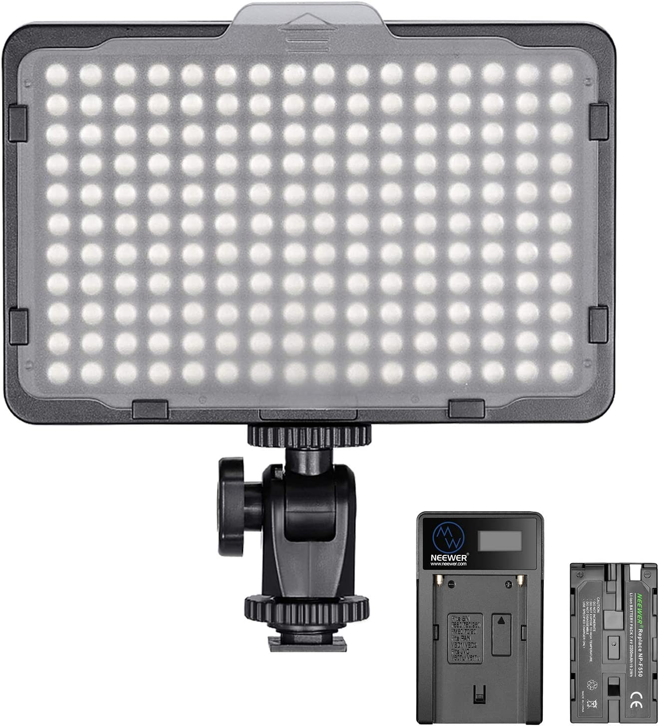 Neewer Pannello Luce 176 LED Dimmerabile 5600K On-camera con Batteria 2200mAh & Caricabatterie a USB