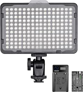 Neewer Dimmable 176 LED Video Light 5600K on Camera Light Panel with 2200mAh Battery and USB Charger for Canon, Nikon, Pentax, Panasonic, Sony, and Other Digital SLR Cameras for Photography