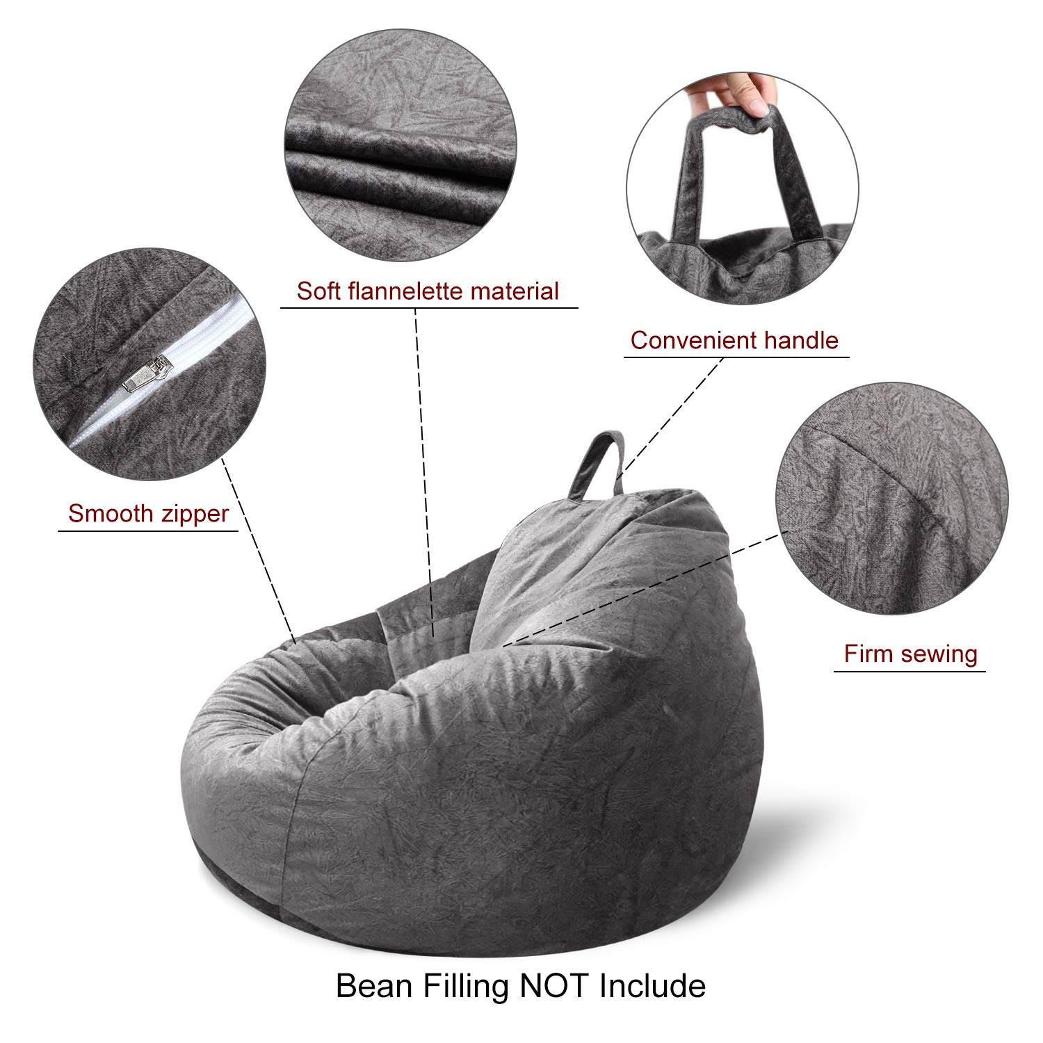 MFTEK Bean Bag Chair Cover Only, Large Washable Memory Foam Furniture Bean Bag with Wash Bag, Without Bean Filling, 43.3 43.3 47.2 Gray