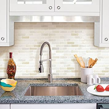 Charming Amazon.com: Beaustile White Brick Mosaic 3D Wall Sticker Home Decor Fire  Retardant Backsplash Wallpaper Bathroom Kitchen DIY: Home U0026 Kitchen