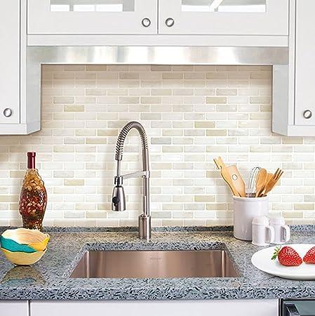 Beaustile White Brick Mosaic 3D Wall Sticker 2 Sheets Home Decor Fire  Retardant Backsplash Wallpaper Bathroom