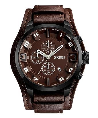24c8c61a47f661 Skmei 腕時計 メンズ シンプル ウォッチ スポーツ ビジネス腕時計 革 カジュアル 薄型 革ベルト インデックス 上品 人気