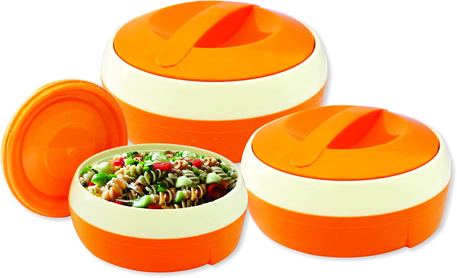 Princeware Solar Plastic Casserole Set, 3-Pieces, Orange