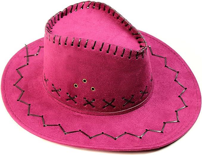 Sombrero de vaquera Nap de ante en color rosa, tela, para disfraz ...