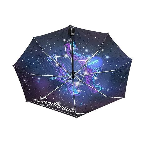 Constellation Zodiac Sign Sagittarius Lightweight UPF 50+ Anti-UV Parasol Waterproof Windproof Reverse 3