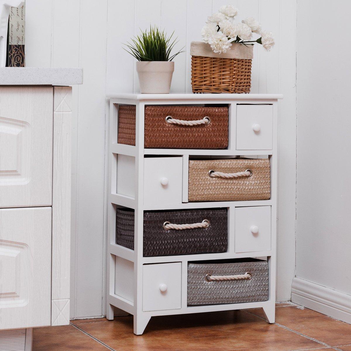 COSTWAY Storage Cabinet Wooden Beside Chest Woven Basket Hallway Cupboard 8 Drawer