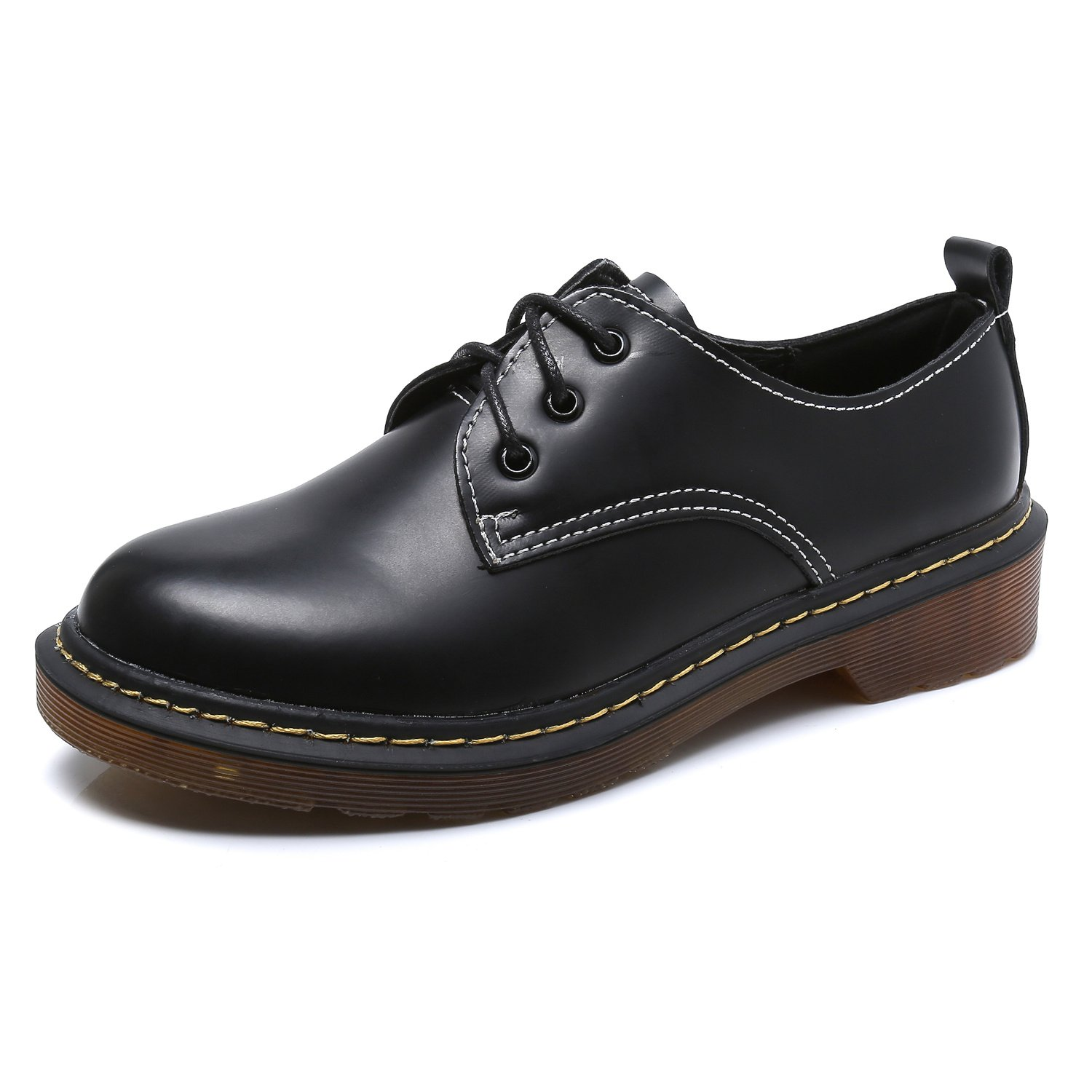Smilun Girl¡¯s Derby Classic Lace-up Shoes Smooth Leather Flats Office Business Dress Shoes for Girl Black Size 6 B(M) US