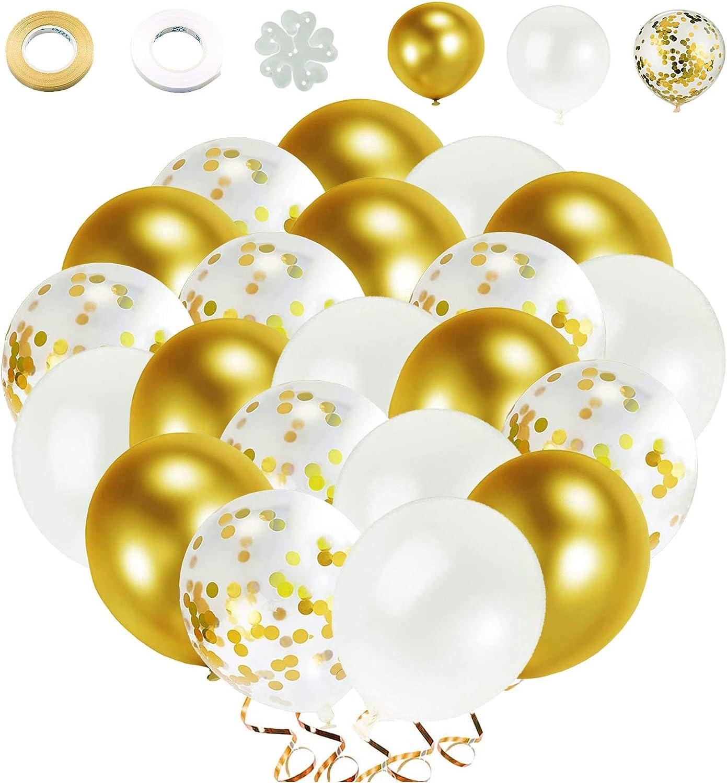 Globos de Confeti Dorado Globos Dorados Globos Metalizados Dorados 60 piezas 12 Pulgadas Globos Dorado Blanco Para Decoraciones de Cumpleaños, Bodas, Fiestas, Ceremonias de Graduación.(Dorado)