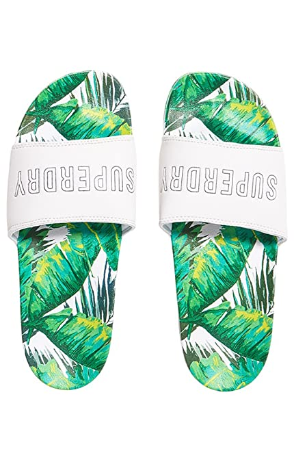 Superdry Tropics Beach Slider, Tongs Femme, Multicolore (Banana Leaf AOP  Af1), S  Amazon.fr  Chaussures et Sacs 4b351cdee366