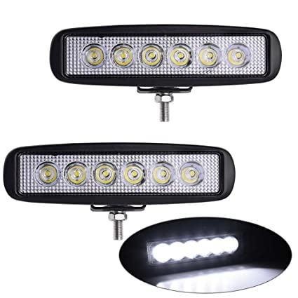 Amazon yitamotor single row led light bar 2pcs 18w spot 6 led yitamotor single row led light bar 2pcs 18w spot 6 led pod light off aloadofball Gallery